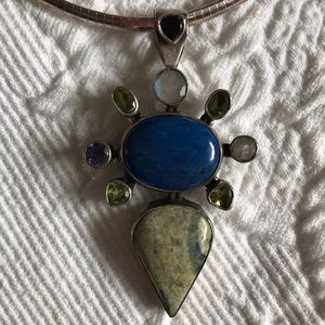 Sterling Silver & Mixed Stone Statement Necklace